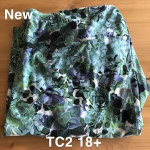 Lularoe Succulent Leggings TC2 Tall Curvy 18+ New